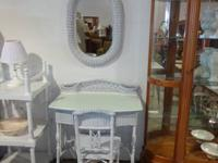 Gorgeous white wicker vanity desk with matching chair
