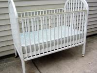 This baby crib is in typical condition, ther is one