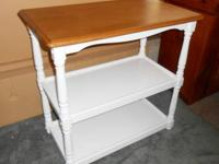 WHITE WOOD 2-SHELF UTILITY STAND with Natural Wood Top
