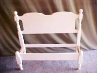 SOLID STURDY WHITE WOOD TWIN BED W/ RAILS & SLATS