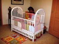 White Wooden Baby Bed Standard Size. Good shape.