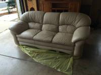 We are offering a diamond sofa Company white leather