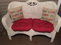 White Wicker Love Seat and cushions for sale for