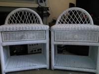 two nice white wicker night stands with draws. 20.50