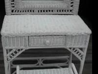 - $129 White Wicker Vanity or Dresser, Mirror, Vanity
