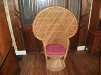 LARGE FAN BACK WICKER CHAIR $50.00 CALL  Location: