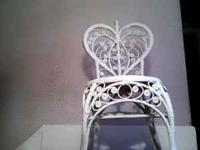 "GENUINE WICKER chair, white, 40 "" tall, 16 inch round"