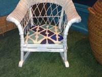 Wicker Fan Chair Dimensions: Height: 58.5 inches Width: