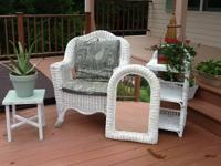 3 pieces of wicker furniture for sale. 45.00