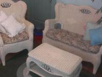 3 piece Wicker Furniture set for sun porch, terrace or