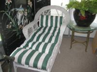 white wicker chaise lounger-40.00 white wicker night