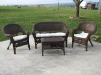 2 sets of brown wooden wicker sets for sale. The first