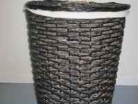 Wicker hamper with removable cloth lining for sale.