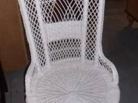 WHITE WICKER CHAIR, BLACK LEATHER ROCKING RECLINER W/
