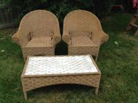 Great Wicker look low maintenance 2 chair and coffee