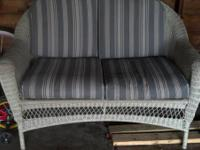 Martha Stewart White Wicker Loveseat. The wicker is an