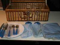 For sale is new wicker picnic basket with cups,