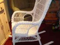 White wicker rocking chair in good condition Call