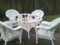 Wicker Set needs glass for table and wicker has hail