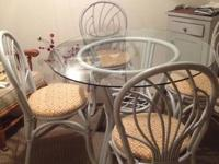 Dining table + 4 chairs for sale. Grey chairs and table