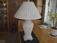 "For sale one white all wicker table lamp. 28-1/2"" tall"