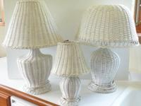 "Vintage Cottage Wicker Lamps. Medium Lamp. 21.25"" High/"