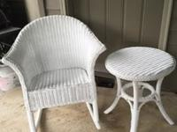 White Wicker rocking chair with cushions, and matching