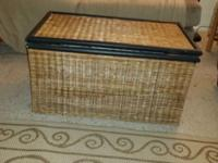 Wicker chest for storage perfect for blankets kids