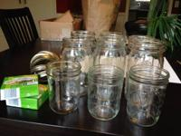 6 quart size broad mouth canning jars, and 3 pint size