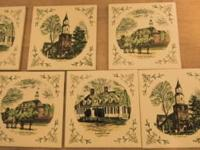 This is a set of 7 USED wall tiles of Colonial
