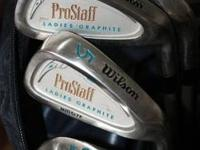 Brushed champagne graphite shafts. 1,3,5 Woods and