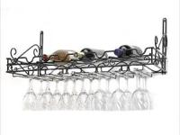 Metal wine rack, stores 8 bottles and 21 wine glasses