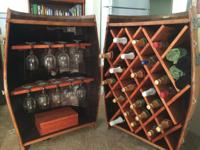 Wine barrel turned into a wine barrel caddy holds 22