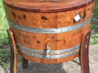 Wine barrel turned into a wine barrel ice chest This ad