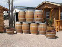 BEAUTIFUL SOLID OAK WINE BARRELS***1/2 Planters=$30.00