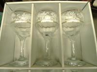 Set of six vintage wine goblets in original box. The