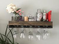 Rustic handcrafted wooden shelf and wine glass holder,