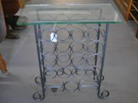 16 bottle metal wine rack table w/ glass top  $25