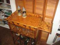 Rattan Wine Rack with table top And side serving shelf