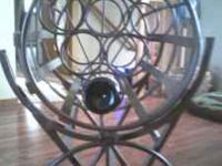 Wrought iron wine barrel/wine rack, holds 6 bottles,