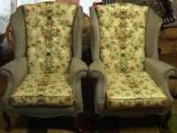 Pair of excellent condition Wing Back chairs. Blue in