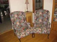 Beautiful floral tapestry wing chairs with Queen Anne