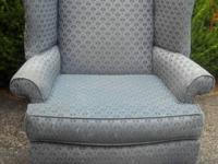 Nice blue wide very sturdy wingback chair