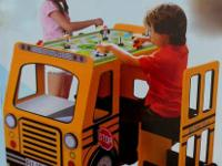 Description: School bus door pulls out to reveal a