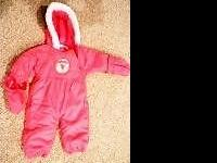 24Mo. Girls snowsuit, pink with hood, and snapped