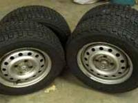 Complete set of 4 winter wheels and tires. 175/70R13