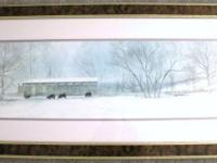 Winter Scene - Brown Marbled Frame with Gold Trim Frame