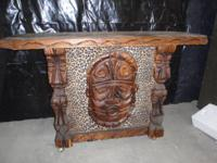 Witco Hawaiian Tiki God Carved Leopard Bar with 2