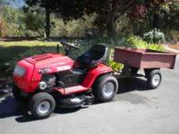 Nice riding mower. Minimal usage. 6-speed, 13 hp Briggs