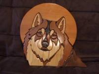One of a kind custom wood carved and shaped wolf art